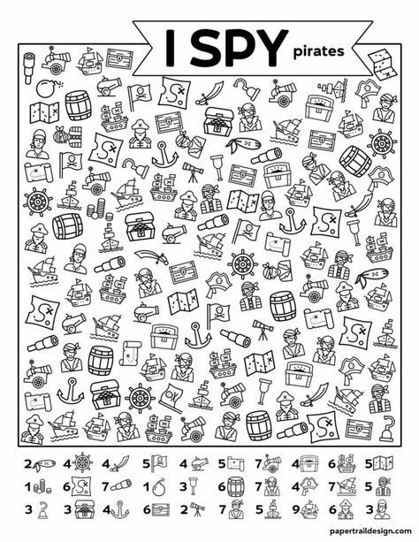Use this pirate themed I spy game as a fun indoor activity for kids while you are stuck at home. Pirate Activities, Indoor Activities For Kids, Fun Activities, Lined Writing Paper, I Spy Games, Hidden Pictures, Paper Trail, Pirate Theme, Kids Writing