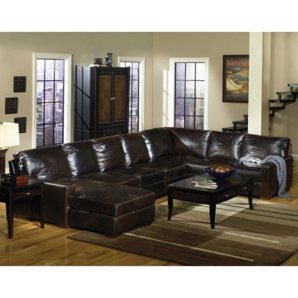 Tobacco  Brompton  Collection 3-piece Leather Sectional | Sectionals | Pinterest | Leather sectional Living rooms and Living room kitchen  sc 1 st  Pinterest : 3 piece leather sectional - Sectionals, Sofas & Couches
