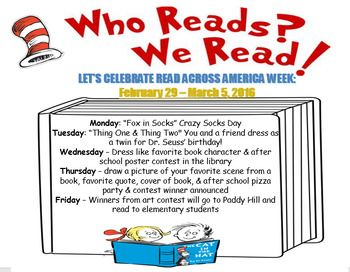 This Is A Flyer That I Created For My School For Read Across America Week With A List Of Activities Fun For All Read Across America Day School Posters Reading