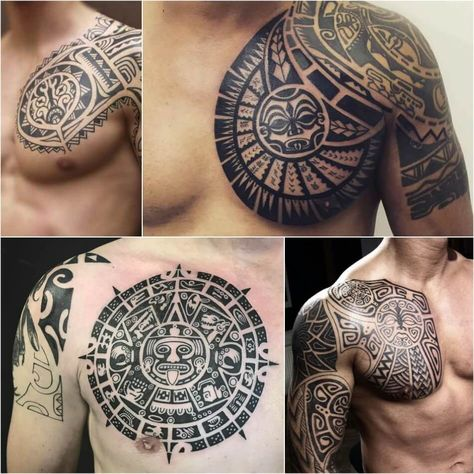 chest tattoos for men - tribal chest tattoos - half chest tattoo. Explore more Tattoo ideas on positivefox.com #animalchesttattoo #chesttattooforguys #chesttattooformen #chesttattoos #halfchesttattoo #religiouschesttattoos #smallchesttattoo #tribalchesttattoos