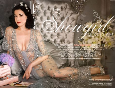 The latest issue of InStyle Magazine features Burlesque Showgirl Dita Von Teese in her home devoted to vintage glamour.