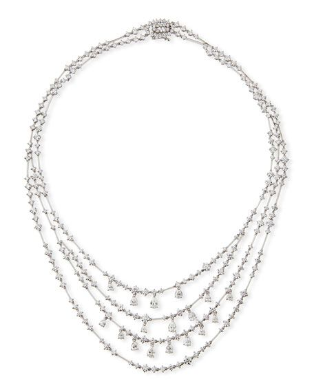 5.4 CTW Silver Tone CZ Wide Fashion Necklace for Women