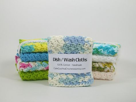 Nice clean way to display/sell washcloths 2 Pack. $7.00 (ouch), via Etsy.