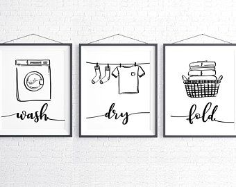 Wash Dry Fold Repeat Laundry Room Decor Black And White