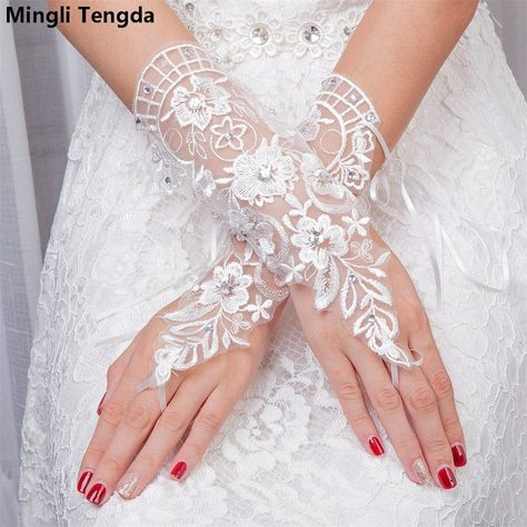 Lace Rhinestone Bridal Wedding Short Wrist Gloves Stage Performance Gloves 1Pair