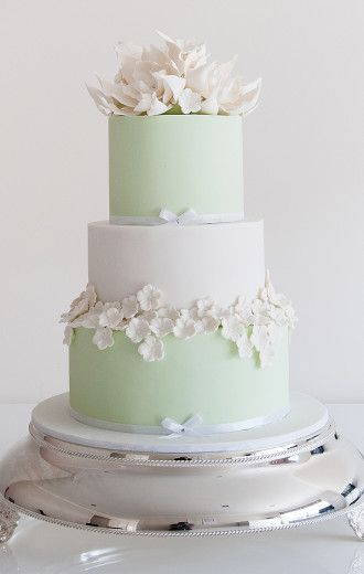 Mint green and white tiered #cake