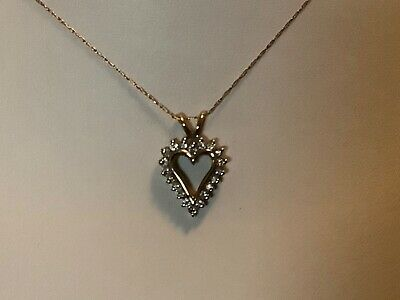 Ebay Advertisement S D 10k Yellow Gold Heart Diamond Pendant W 10k Gold Necklace In 2020 Heart Pendant Diamond Diamond Pendant Diamond Heart