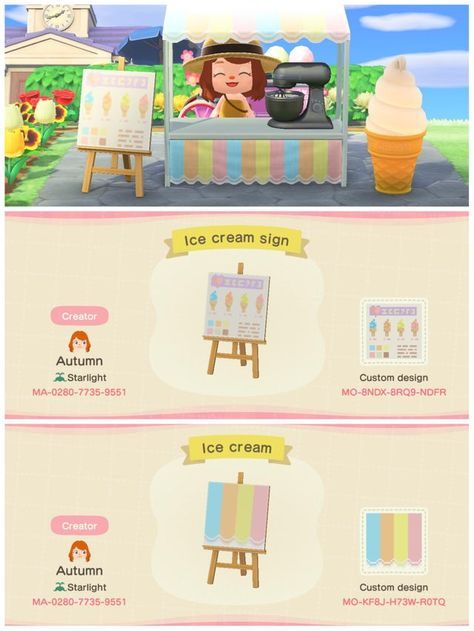Here's some ice cream stand designs! Animal Crossing Guide, Animal Crossing Qr Codes Clothes, Animal Games, My Animal, Ac New Leaf, Motif Vintage, Motifs Animal, Stand Design, Cute Animals