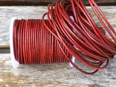 27 yards Red Metallic Round Leather Cord 2mm 25 meters