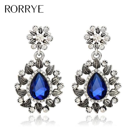 2017 New Womens Elegant Silver Fashion Hollow Blue Crystal  Flowers Long Dangle Earrings For Wedding Evening Party Prom Jewelry