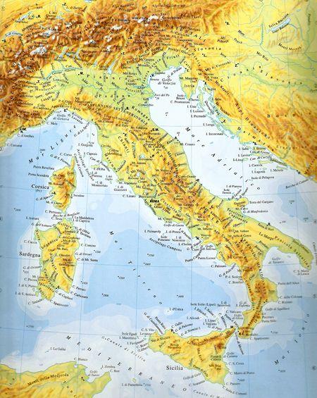 Cartina Italia Fisica Politica.Cartina Fisica Italia Italia Bambini Geografia Le Idee Della Scuola
