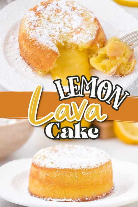 These little Lemon Lava Cakes are zesty desserts, full of light lemon flavor. The tender mini cakes are filled with a white chocolate and lemon curd molten lava gooey center and ready in under 30 minutes!