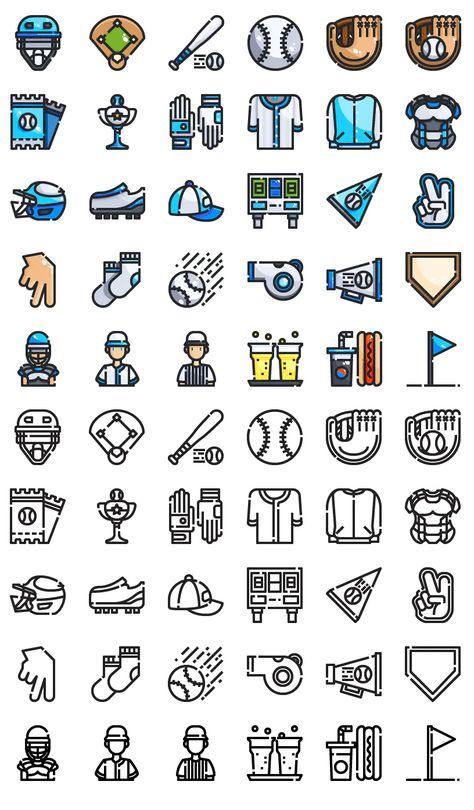 30 Baseball Icons AI, EPS