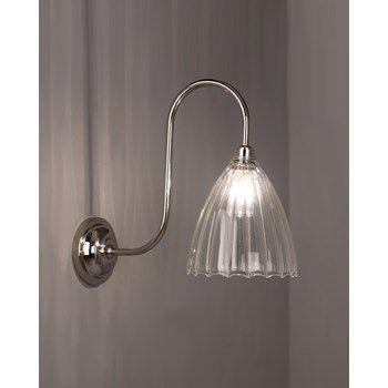Tate Ribbed Glass Swan Neck Classic Bathroom Wall Light Wall Lights Bathroom Wall Lights Traditional Wall Lighting