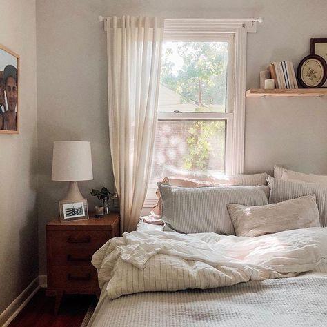 King Bedding Sets For Sale Bedroom Inspo, Bedroom Decor, Bedroom Ideas, Condo Bedroom, Cottage Bedrooms, Bedroom Lighting, Bedroom Designs, Window Behind Bed, Bed Against Window