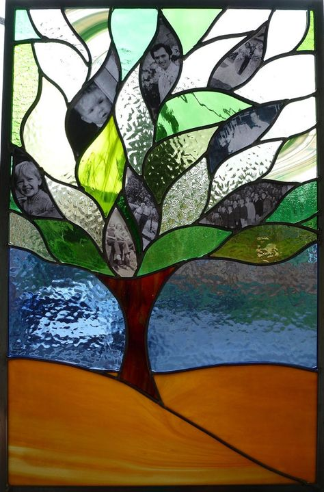 Stained Glass Window Family Tree Panel by BlueFishStudios I love this concept