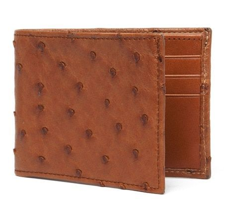 Genuine Ostrich Skin Leather Men/'s Bifold Wallet Brown