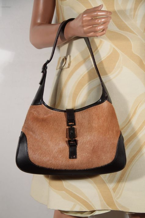 6d81697e1 Authentic GUCCI Tan pony hair & Brown Leather hobo JACKIE O Tote Purse  shoulder bag handbag