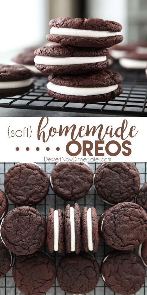 These easy Homemade Oreos are made completely from scratch. Soft, fudgy chocolate cookies are stuffed with a simple, vanilla cream filling. (Cream Cheese Frosting recipe also available for filling.) cookies Homemade Oreos - Dessert Now, Dinner Later! Keks Dessert, Dessert Oreo, Oreo Desserts, Dessert Dips, Dessert Party, Easy Desserts, Simple Sweets Recipes, Chocolate Desserts, Easy Deserts To Make