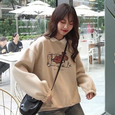 Oversized Bear Soft Sweatshirt - Apricot / XL