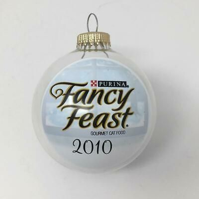 Fancy Feast Christmas Ornament 2017 White FF cat
