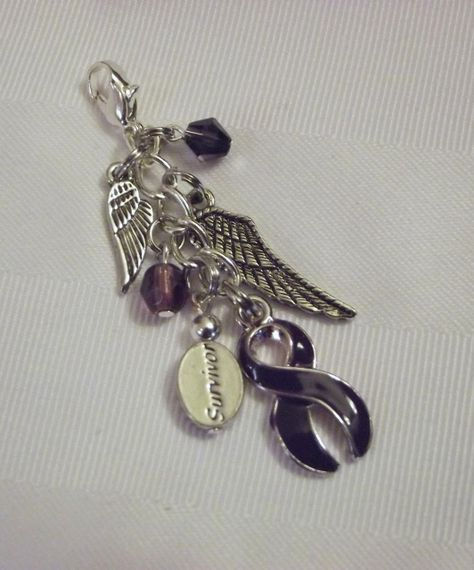 """Purple awareness """"survivor"""" purse pull with wings!"""