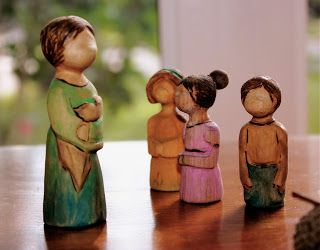 little acorns: Tutorial on Carving Peg People: Mother Earth and her Root Children (Felted Playscape: Part II)