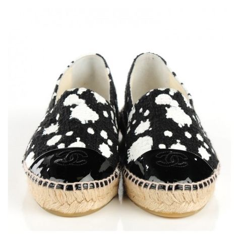 6152e1220997 CHANEL Canvas Paint Splatter Espadrilles 38 Black White ❤ liked on Polyvore  featuring shoes and sandals
