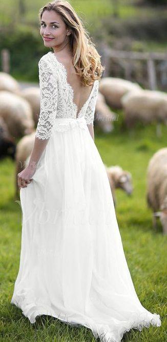 White//Ivory Chiffon Lace Wedding Dresses 3//4 Sleeves Simple Bridal Gown Custom