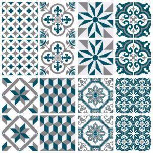 Sticker Carreaux De Ciment Ginette Bleu Canard Sticker