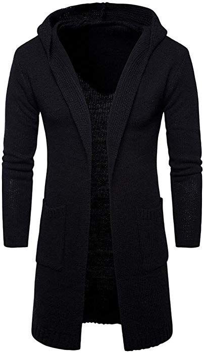 ManxiVoo Knit Sweater, Mens Slim Fit Hooded Knit Cardigan