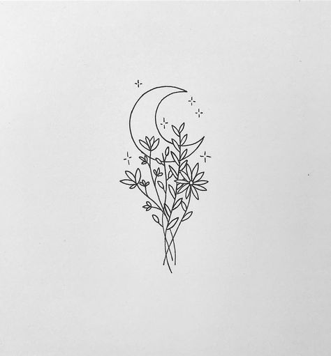 "chaos + cosmos ☾ marise tamara on Instagram: ""Tiny moon and floral tattoo design 🌙💐 I'm falling in love with creating these small and minimal tattoo designs ✨ • • • To commission your…"""