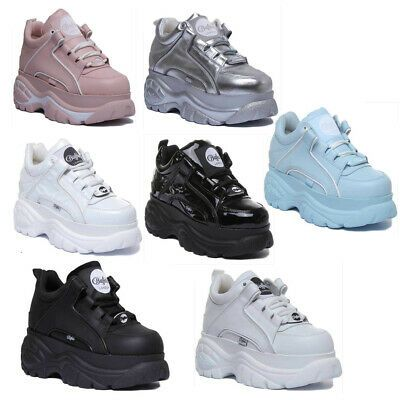Buffalo Womens Leather Platform Trainers In Various Colours UK Sizes 3 - 8