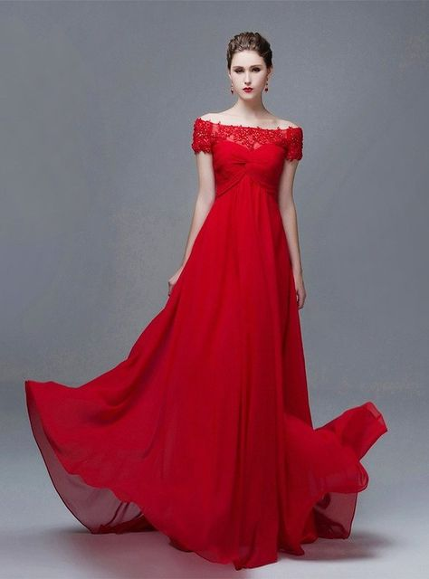1c3dbade93b Vimans Women s Long Red Off Shoulder Lace Pleated Bridal Evening Dresses at Amazon  Women s Clothing store