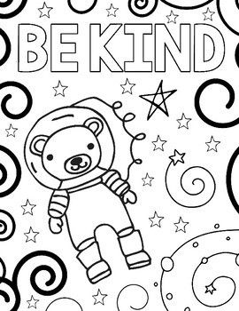Wonder Outer Space Coloring Pages Kindness Themed Space