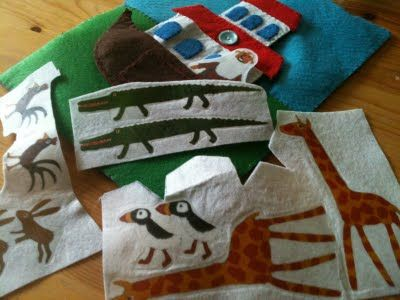 Make felt board pieces using printable transfer paper and ironing onto white felt