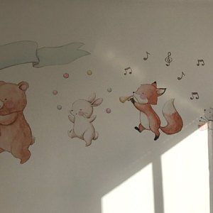 Satz Von Vier Filme Fur Madchen Tiere Mit Kranz Von Tieren Kind Box Tiere Des Waldes Aida Zamora Fabric Wall Decals Nursery Wall Decals Pink Nursery Walls