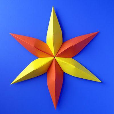 Stella Di Natale A 6 Punte.Modular Origami Stella Convessa 6 Punte Convex Star Six Pointed