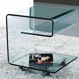 Buy Modern Glass Rolling Side Table Online Ginosa Glass Side