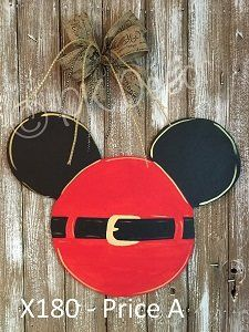 X180 - Christmas Mickey Mouse Door Decor - Disney Santa Belt Door Hanger - Custom Christmas Disney Door Decor