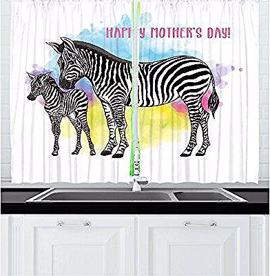 East Urban Home 2 Piece Mother S Day Zebra Mother And Baby On Splashing Watercolor Splashes Image Kitch Kitchen Curtain Sets Zebra Curtains Kids Room Wallpaper