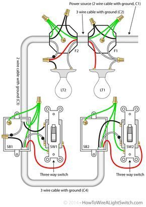 3 way switch with power feed via the light (multiple lights ... Ac Wiring Diagram Multiple Lights on