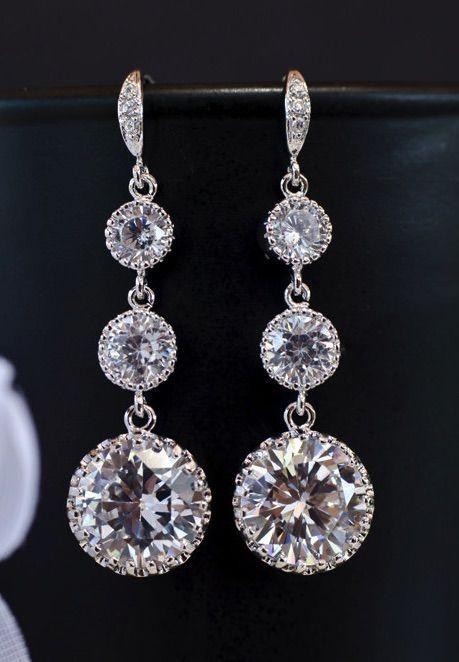 Bridal Earrings Cubic Zirconia Ear Wires Cubic Zirconia Connectors And Large Cubic Zirconia Crystal Round Dro Bridal Earrings Sparkle Earrings Bridal Bracelet