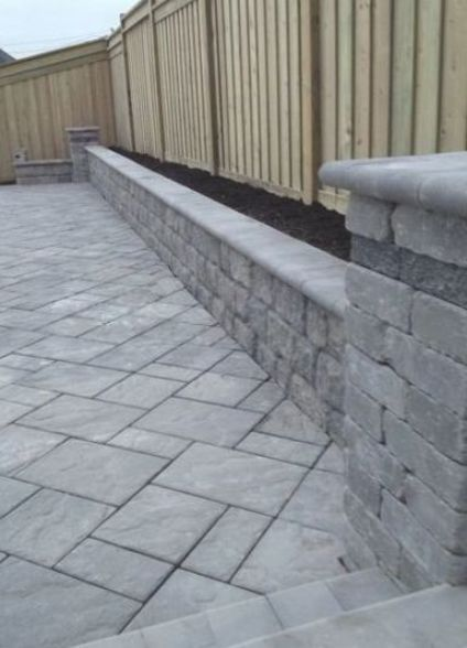 Pin By Stephany Farr On Home Landscaping In 2020 Backyard Retaining Walls Patio Stones Concrete Patio