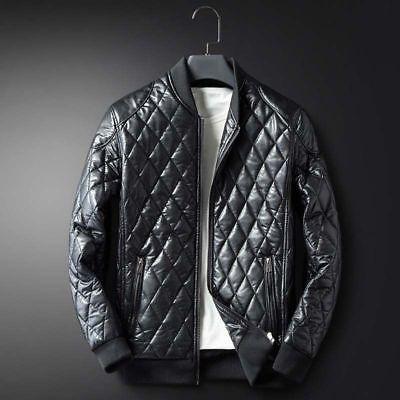 Mens Warm Plus Velvet Leather Jacket Winter Thicken Coat Slim Fit Casual Outwear