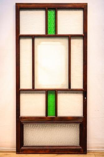 幅622ミリ 昭和レトロ 木枠で区切られた素敵な多種類ガラス戸 F6301
