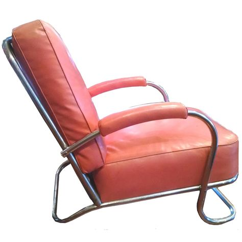 Chromed Art Deco Lounge Chair, 1936 For Sale at 1stdibs