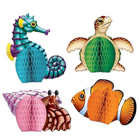 Assorted Sealife  Cupcake Toppers- Seaturtle, Dolphin, Seahorse, Fish