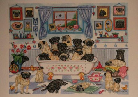 12 Pugs   Watercolour//ink Painting  by Bridgette Lee pug dog