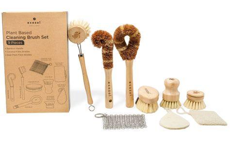 Dish Brush Set, 9 Piece Kitchen Scrub, Zero Waste Brush Set, Plant Based Vegetable Brush Set